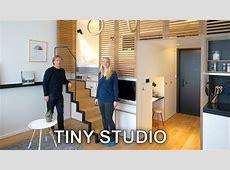 Tiny Studio Apartment Sleeping Loft and Moving Staircase