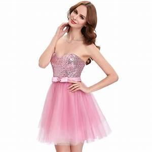 Elegant Apricot Pink Sequin Prom Dresses 2017 Strapless ...