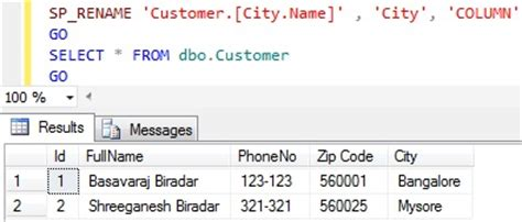 sql change table name line 238 either the parameter objname is ambiguous or the