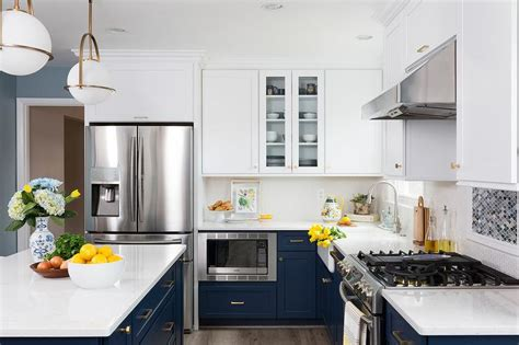 navy blue  cabinets  white upper cabinets