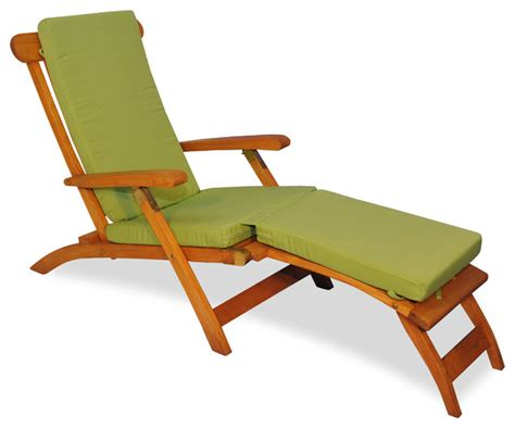teak steamer chair chaise lounge with sunbrella cushion