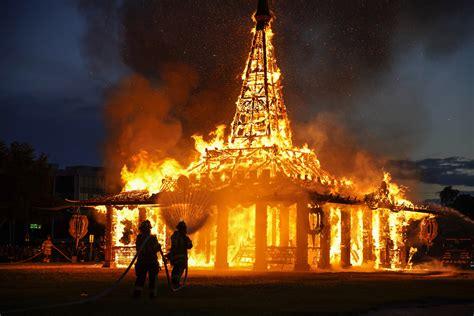 burning man artist built  temple  set   fire