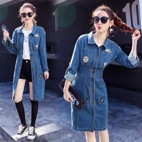 buy  elegant long denim jacket coat female spring