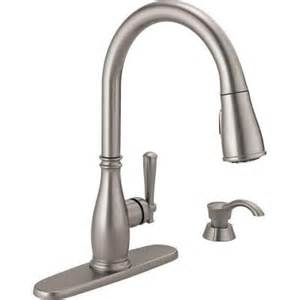 how to open kitchen faucet delta charmaine single handle pull sprayer kitchen faucet with soap dispenser and magnatite