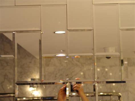 Bathroom Mirror Tiles by Beveled Mirror Subway Tile Set In Herringbone Kitchens