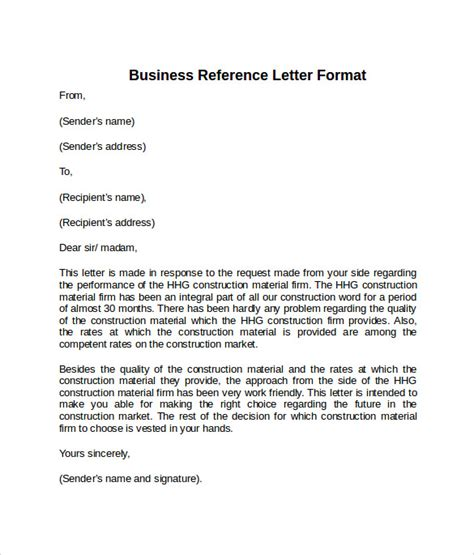 sample reference letter formats examples