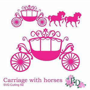 SVG DXF PNG Princess Carriage horse Cutting file by ...