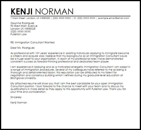 immigration consultant cover letter sample livecareer