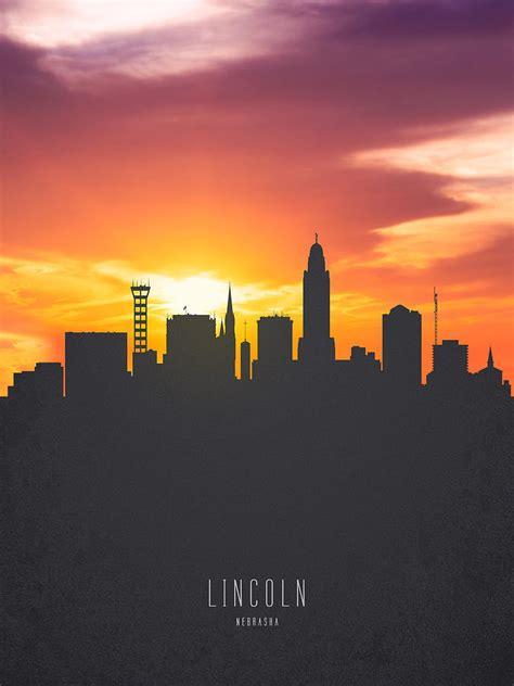 lincoln nebraska sunset skyline  painting  aged pixel