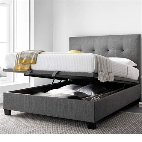 Grey Fabric Bed With Mattress by Yorkie Grey Fabric Ottoman Bed