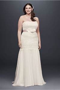 beaded trumpet plus size wedding dress david39s bridal With plus size trumpet wedding dress
