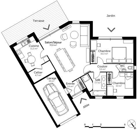 Plan Maison 2 Chambres - plan maison en v avec 2 chambres ooreka