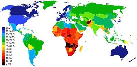 carte 2012 de l esp 233 rance de vie par pays regard sur le