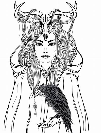 Coloring Adults Pages Adult Horror Gothic Woman