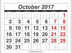 2017 Calendar October with Large Numbers