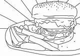 Burger Colouring Chips Sheet Printable Sheets Mental Health Adults Pdf sketch template