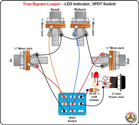 Up Bypas Switch Wiring Diagram by True Bypass Looper Wiring Diagram Led Indicator 3pdt