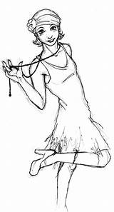 Flapper Drawing Drawings Flappers Lady Painting sketch template