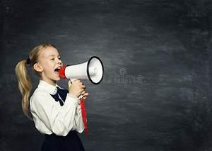 Child Girl Megaphone Announcement, School Kid Announce ...