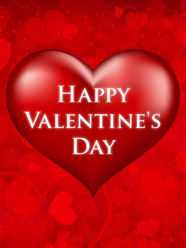 red heart happy valentines day card birthday greeting
