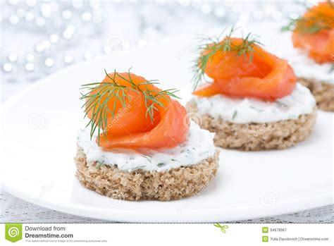 rye bread canapes canape with rye bread cheese salmon and greens stock image image of bread fish 34678967