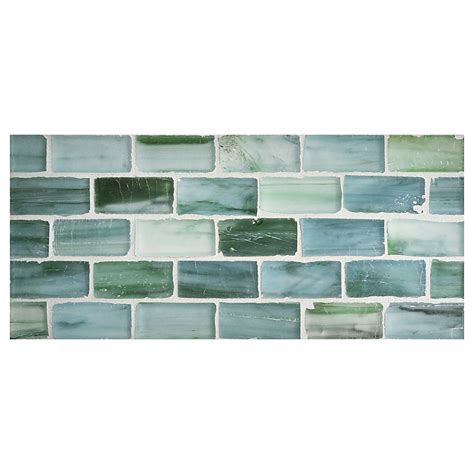 kitchen tile mosaics zumi glass tile 1 quot x 2 brick mosaic sea spruce silk 3267