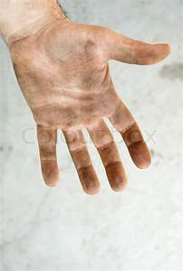 Man Dirty Hand Closeup Isolated On Gray