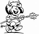 Devil Coloring Diabinho Garfo Halloween Colorir Fork His Desenho Faca Tudodesenhos Designlooter Prato Segurando Ratinho Garfield Imprimir sketch template