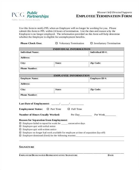termination of employment form template 18 employee termination templates word pdf excel free premium templates