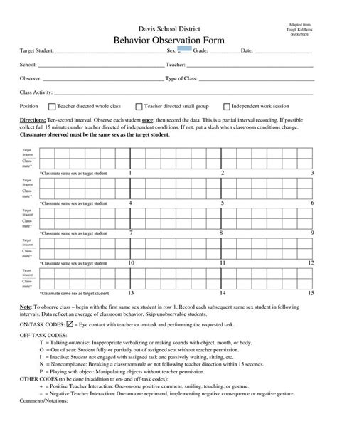 student behavior observation form classroom observation