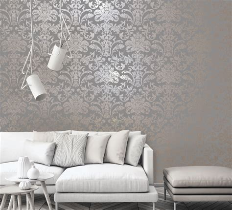 holden glistening damask greyrose gold  wallpaper