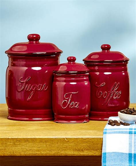 New 3 Pc Distressed Canister Set Sugar Coffee Tea Storage