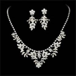 bridesmaid jewelry set clear wedding bridal necklace earring set