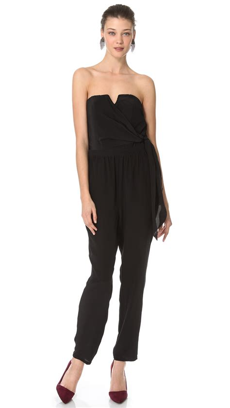 strapless jumpsuit jade strapless jumpsuit in black lyst