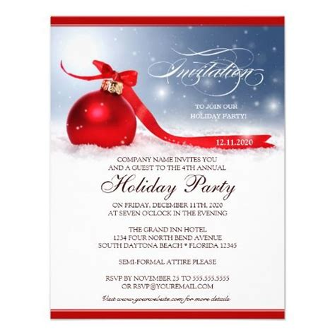 corporate holiday party invitation template red