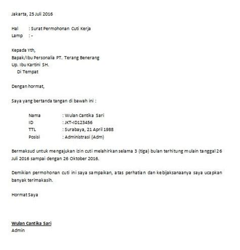 contoh surat izin cuti libur kerja bagi karyawan
