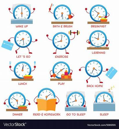 Routine Daily Clock Timetable Vector Schedule Character