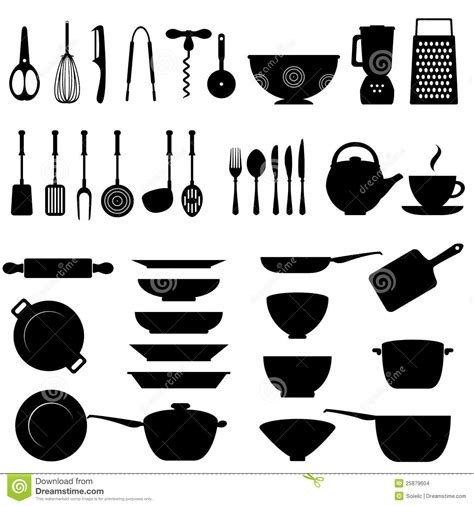 ustensiles de cuisine kitchen utensil icon set stock vector illustration of
