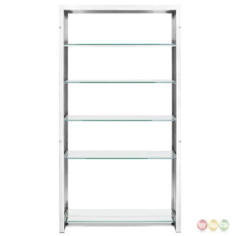 gridiron modernistic stainless steel bookshelf  glass
