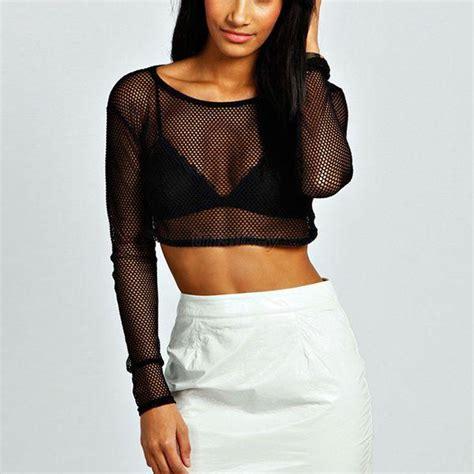 mesh blouse womens black crop mesh sheer tops t shirt bodycon