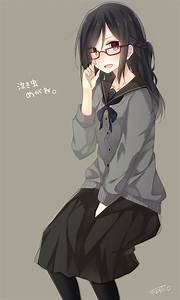 #long hair, #anime, #anime girls, #sweater, #glasses, # ...