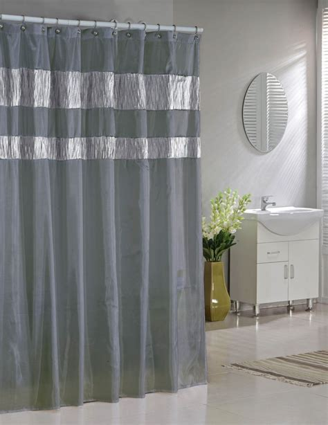 Shower Curtain Gray by Silver Gray Faux Silk Fabric Shower Curtain Shimmering