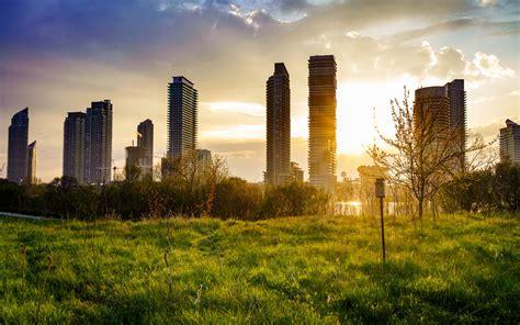 building cityscape grass sunbeam sunrise apple