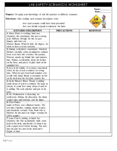 Science Safety Worksheet Worksheets For All  Download And Share Worksheets  Free On