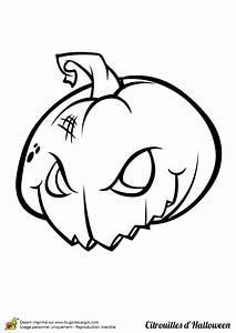 Coloriage Halloween Citrouille Qui Fait Peur Coloriage