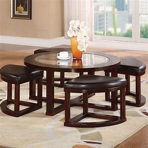 Round coffee table with seats underneath roy home design for Circle coffee table with seats