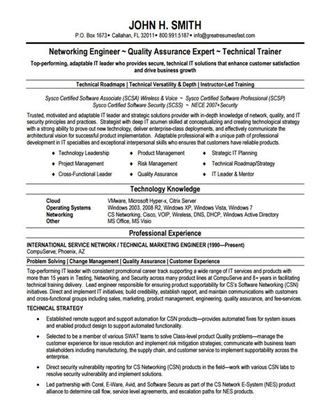 Network Engineer Resume Sles by Resume Technical Leader