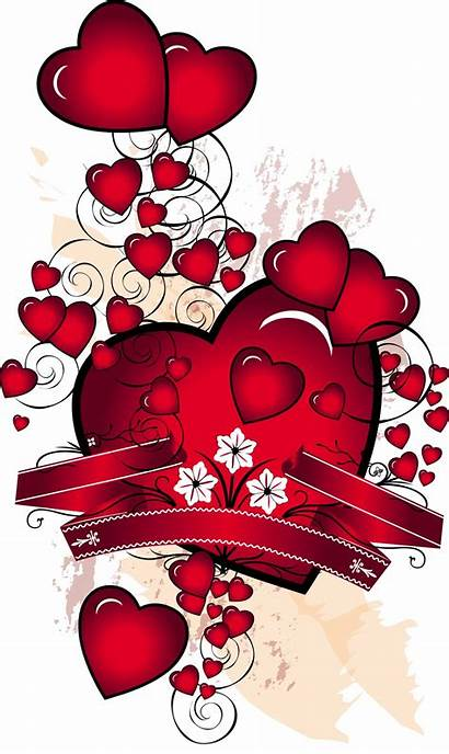 Hearts Ribbons Card Vectors