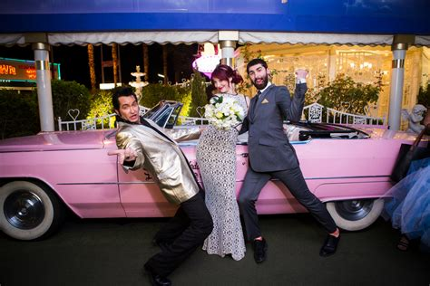 Funky Downtown Vegas Drive-thru Wedding From Taylored