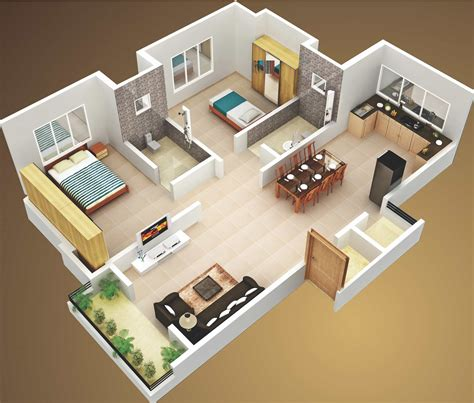 3D Two Bedroom House Layout Design Plans #22449 Interior